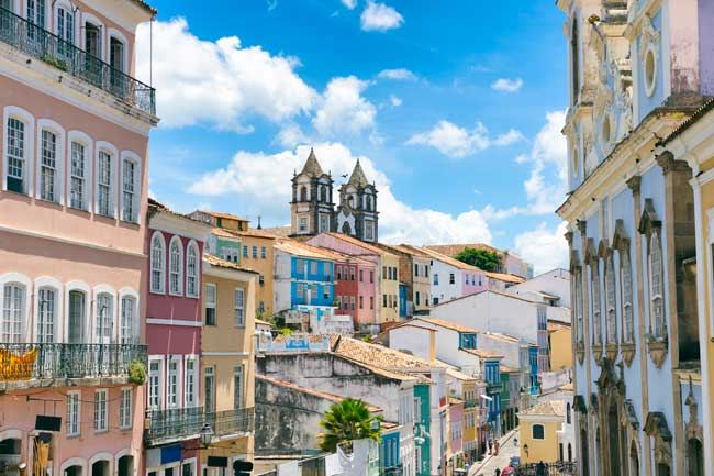 The Pelourinho district in the upper city of Salvador da Bahia has the most part of the Portuguese colonial architecture and monuments.